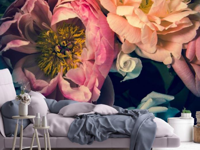 Фотообои с цветами в интерьере: особенности подбора, фото