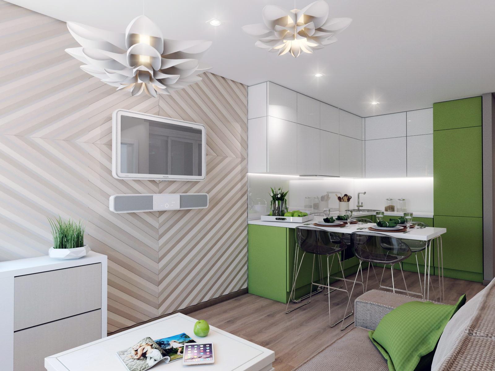 кухня-гостиная дизайн фото 18 кв.м