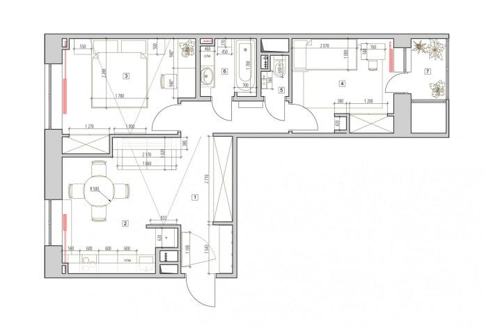 Планировка двухкомнатной квартиры 52 кв. м.