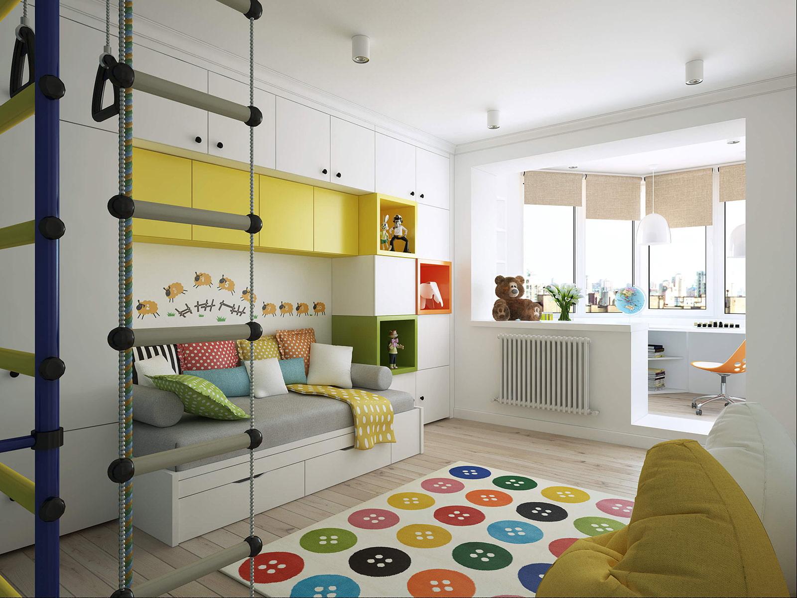 Объединенная комната с балконом для мальчика дизайн..