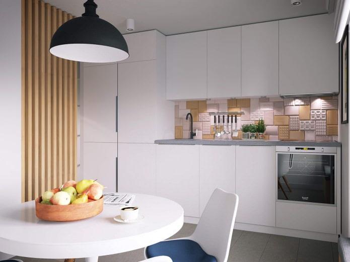 Интерьер кухни 11,6 кв. м. в белых тонах