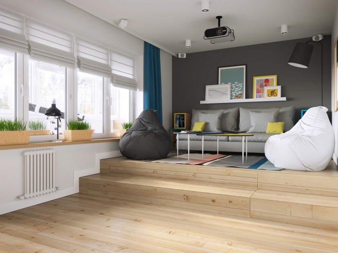 современный интерьер однокомнатной квартиры 37 кв. м.