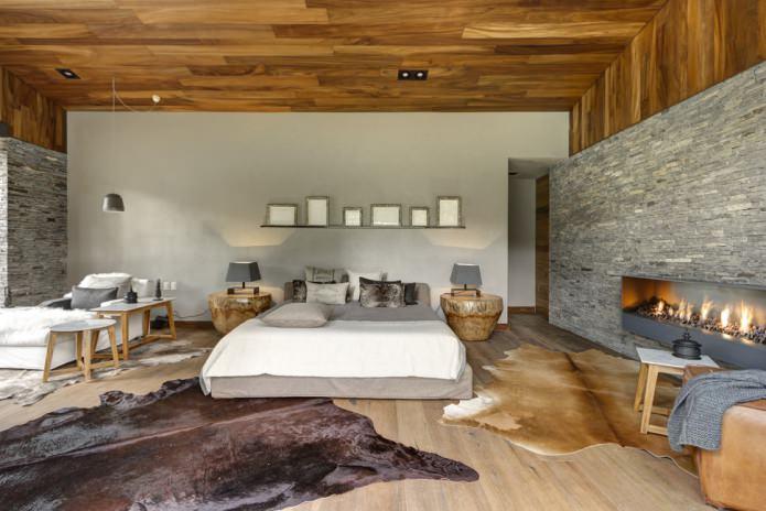 отделка спальни декоративным камнем