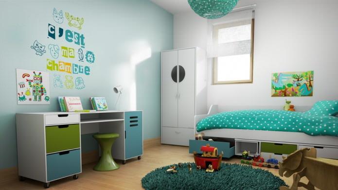 Бирюзовая детская комната для мальчика