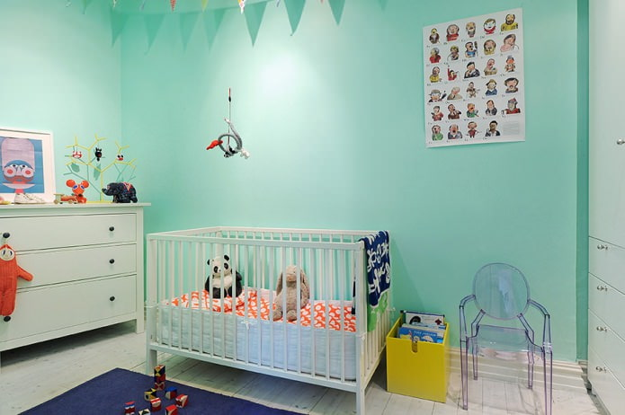 мятные стены в детской для новорожденного
