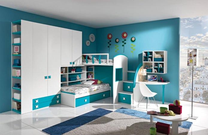 бело-бирюзовая детская комната
