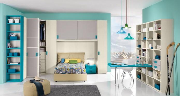 Детская комната в бирюзовых тонах: особенности, фото