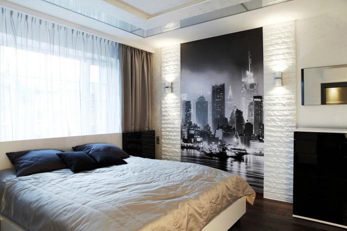 белый декоративный камень в интерьере спальни