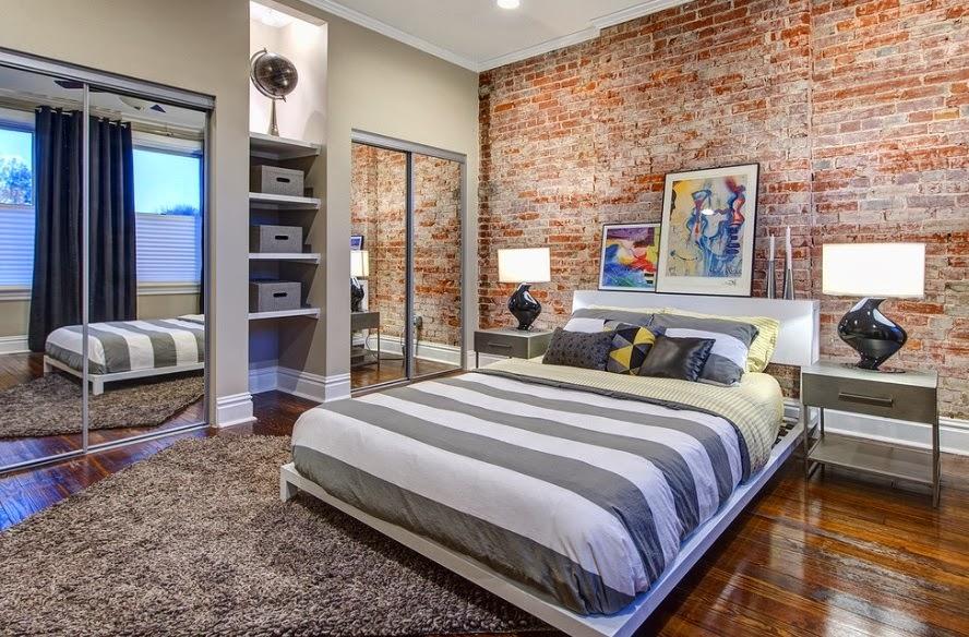 Дизайн спальни с декоративным кирпичом