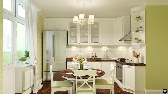 дизайн бело-зеленой кухни в стиле прованс