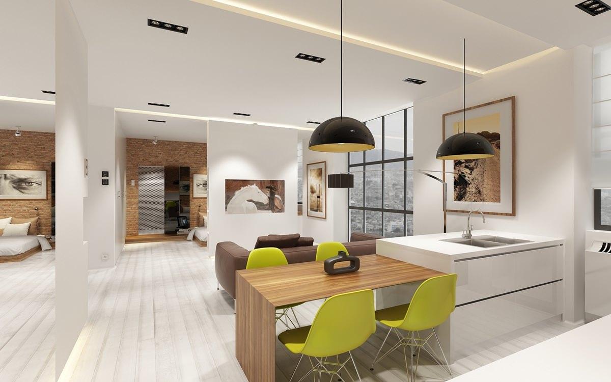 Дизайн проект для студии гостинной и кухни