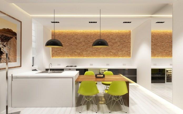 интерьер кухни кирпичной стеной