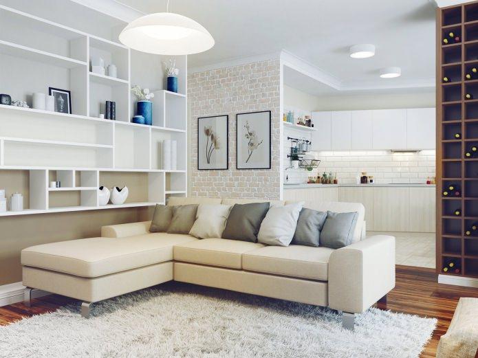 Фото углового дивана в интерьере гостиной
