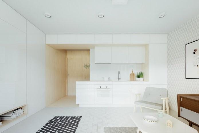 кухня в дизайне квартиры-студии 20 кв. м. в белых тонах