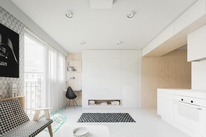 дизайн квартиры-студии 20 кв. м. в белых тонах