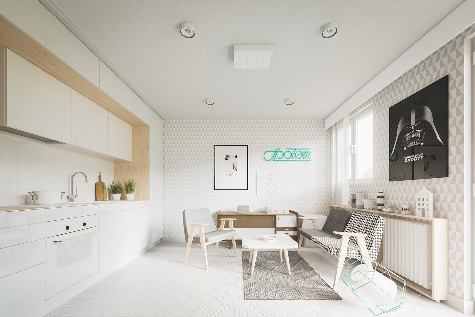 Дизайн студии 20 кв.м фото современный