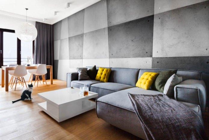 Дизайн серой гостиной комнаты с желтыми подушками на диване
