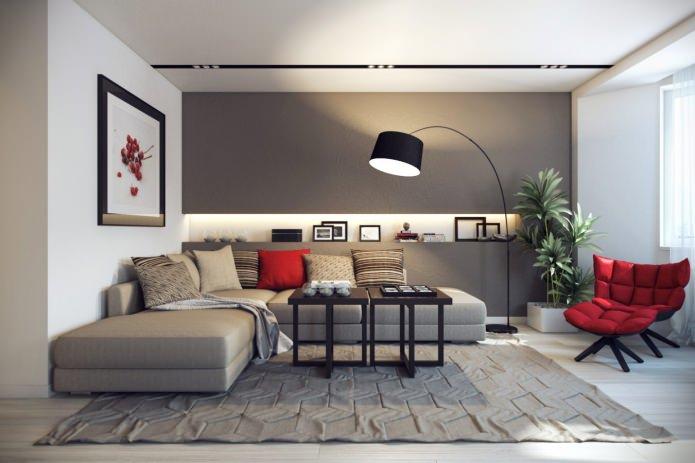 интерьер гостиной в серо-красном цвете