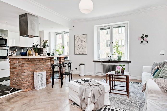 скандинавский дизайн кухни с кирпичной барной стойкой