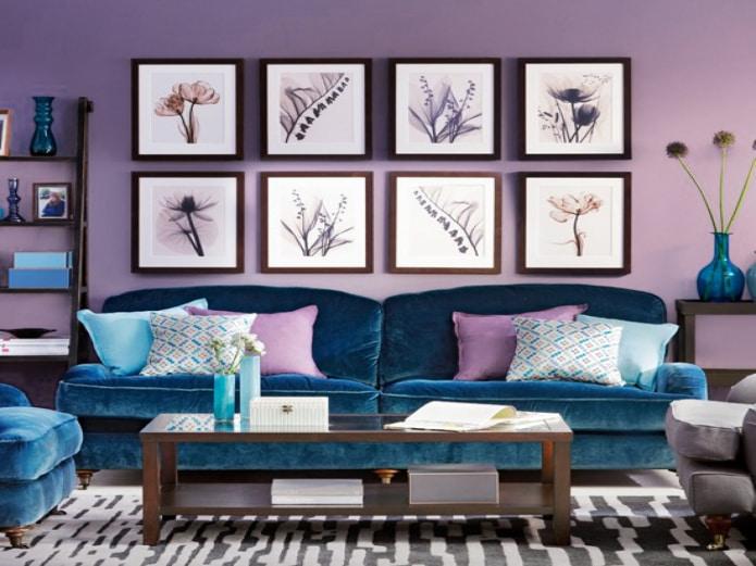 Лавандово-синяя гостиная