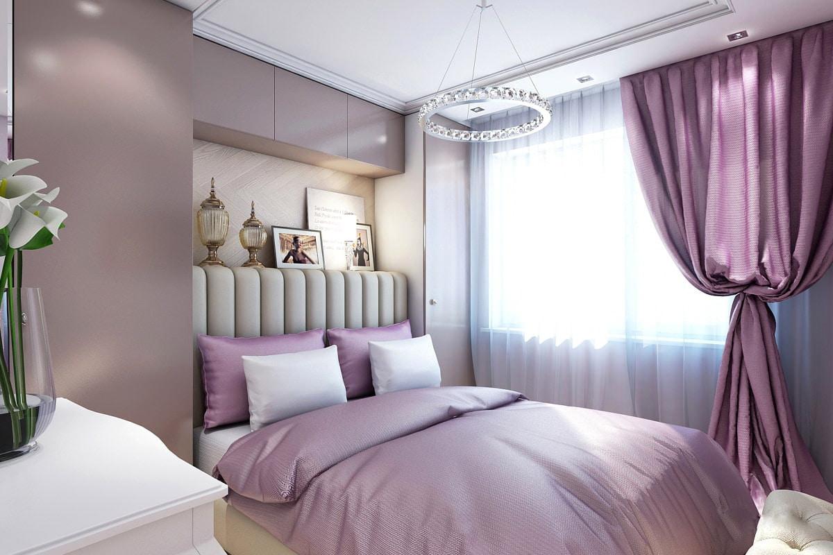 Интерьер спальни в лавандовом цвете фото