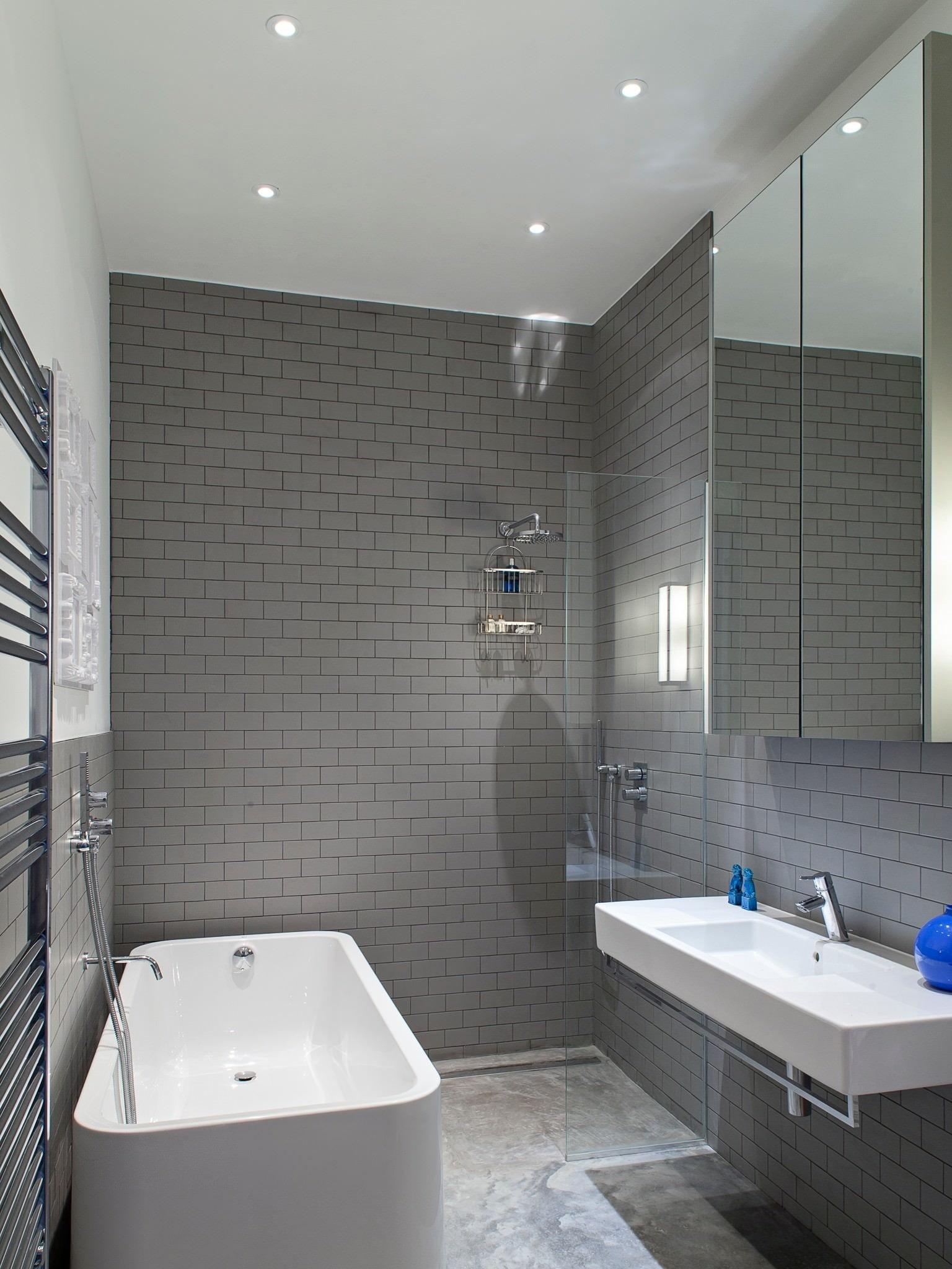Дизайн ванной комнаты в серо белых тонах