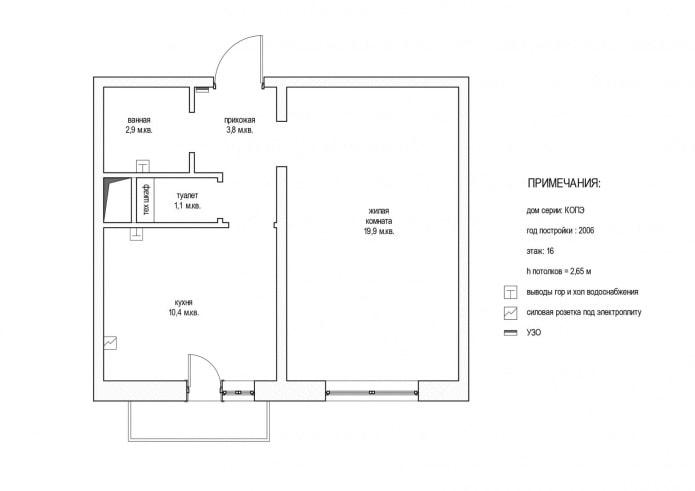 планировка однокомнатной квартиры 38 кв. м. в доме серии КОПЭ