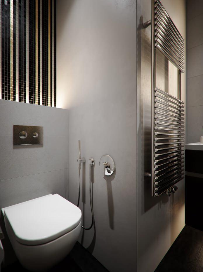 подвесной унитаз в интрьере ванной