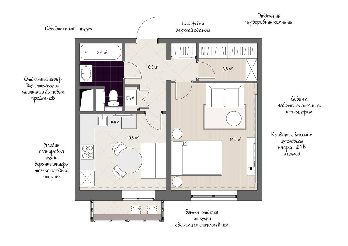 Дизайн проект однокомнатной квартиры 38 кв м
