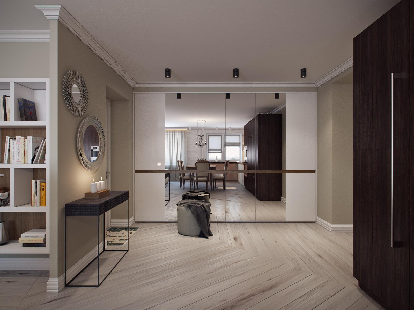 как дизайн совмещенной прихожей гостиной и кухни фото это
