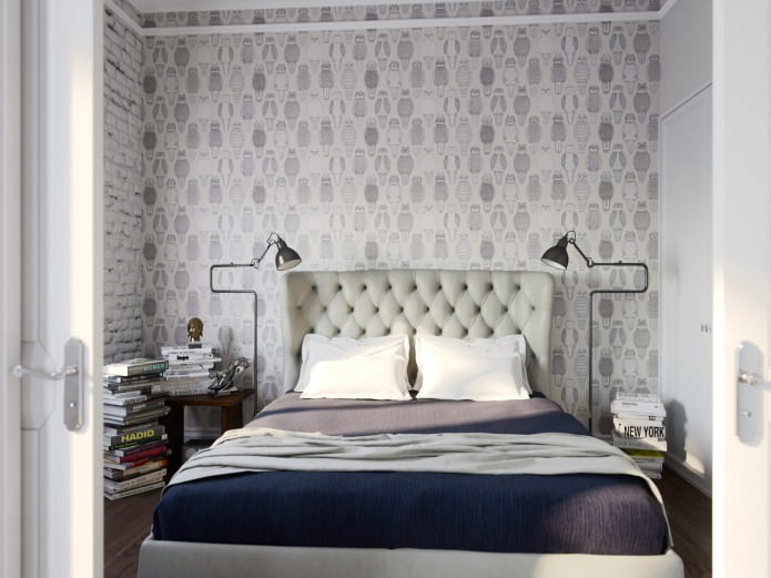 спальня в дизайне студии в стиле лофт