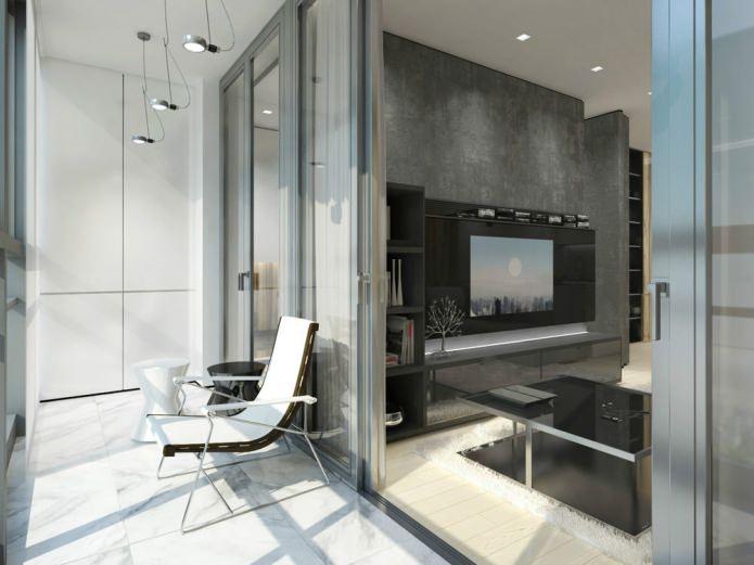 дизайн лоджии с раздвижными дверями