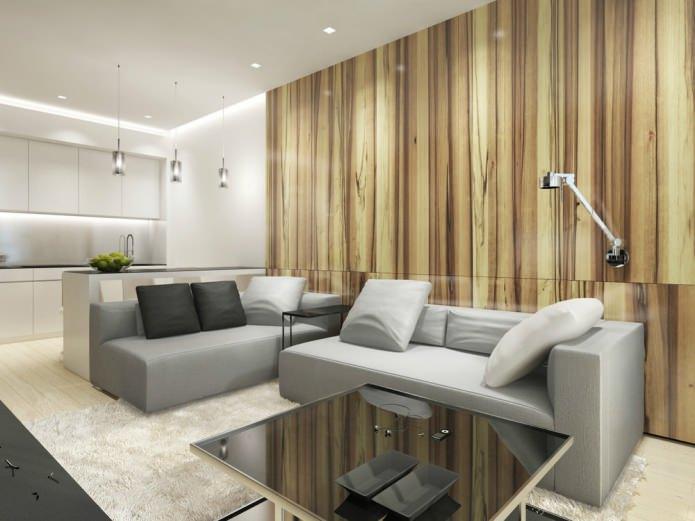 кухня-гостиная в дизайне однокомнатной квартиры в стиле минимализм