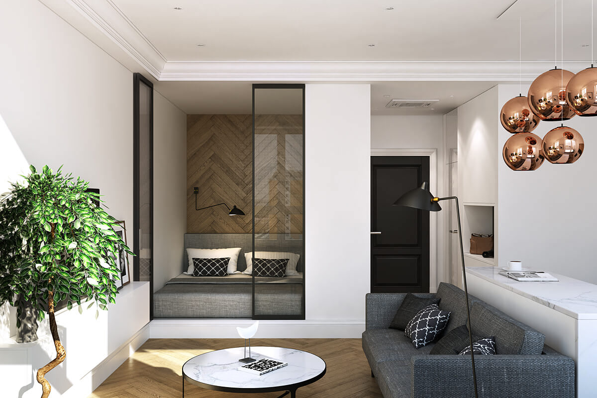 Дизайн студии со спальным местом 64