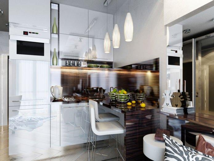 кухня в дизайн-проекте маленькой квартиры-студии