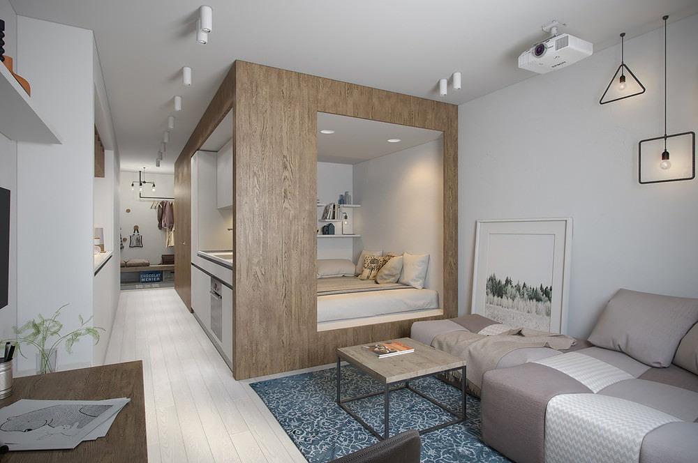 Дизайн проект квартиры студии 30 м кв фото прямоугольная