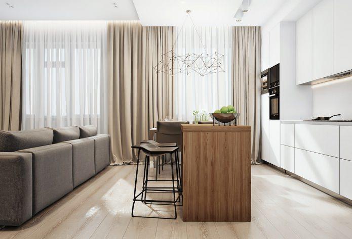 барная стойка в современном интерьере квартиры