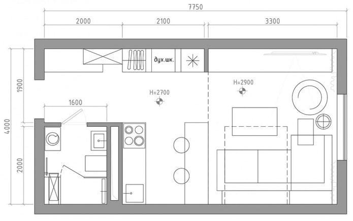 планировка квартиры-студии 29 кв. м.