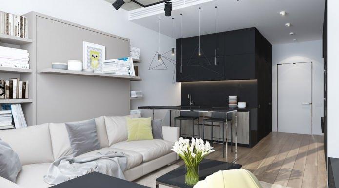 интерьер квартиры-студии 29 кв. м.