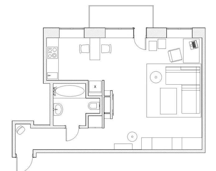 планировка однокомнатной квартиры-студии