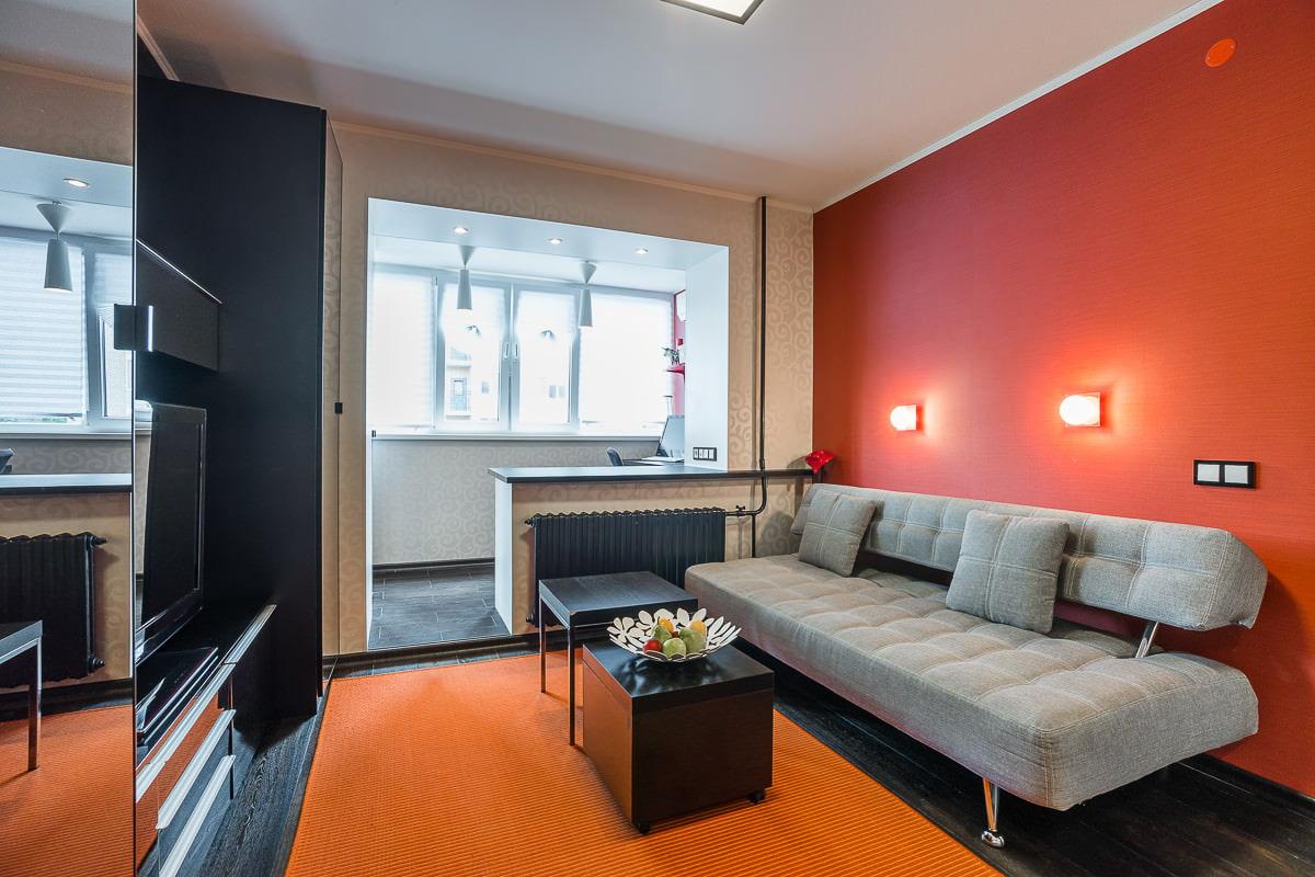 Дизайн однокомнатной квартиры с большой лоджией самые интере.