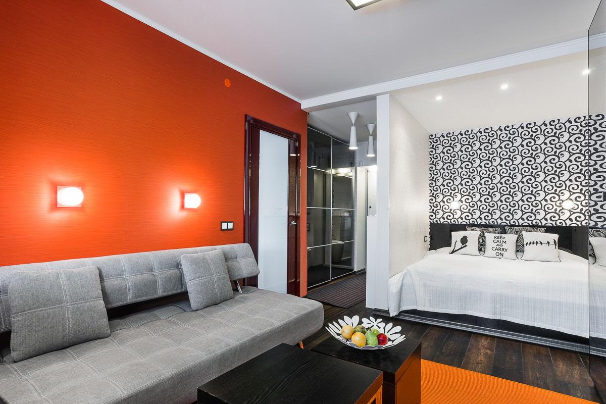 Дизайн однокомнатной квартиры 42 квм с нишей