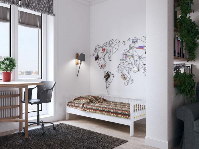 детская кровать в интерьере квартиры-студии