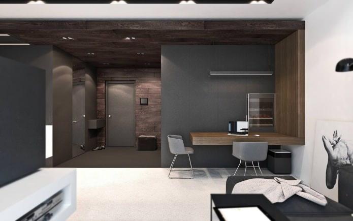интерьер студии 50 кв. м.