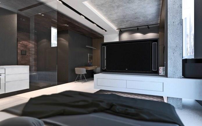 спальня в студии 50 кв. м.