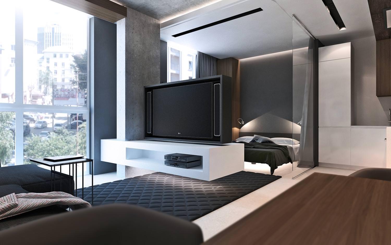 Дизайн студии 50 кв.м фото