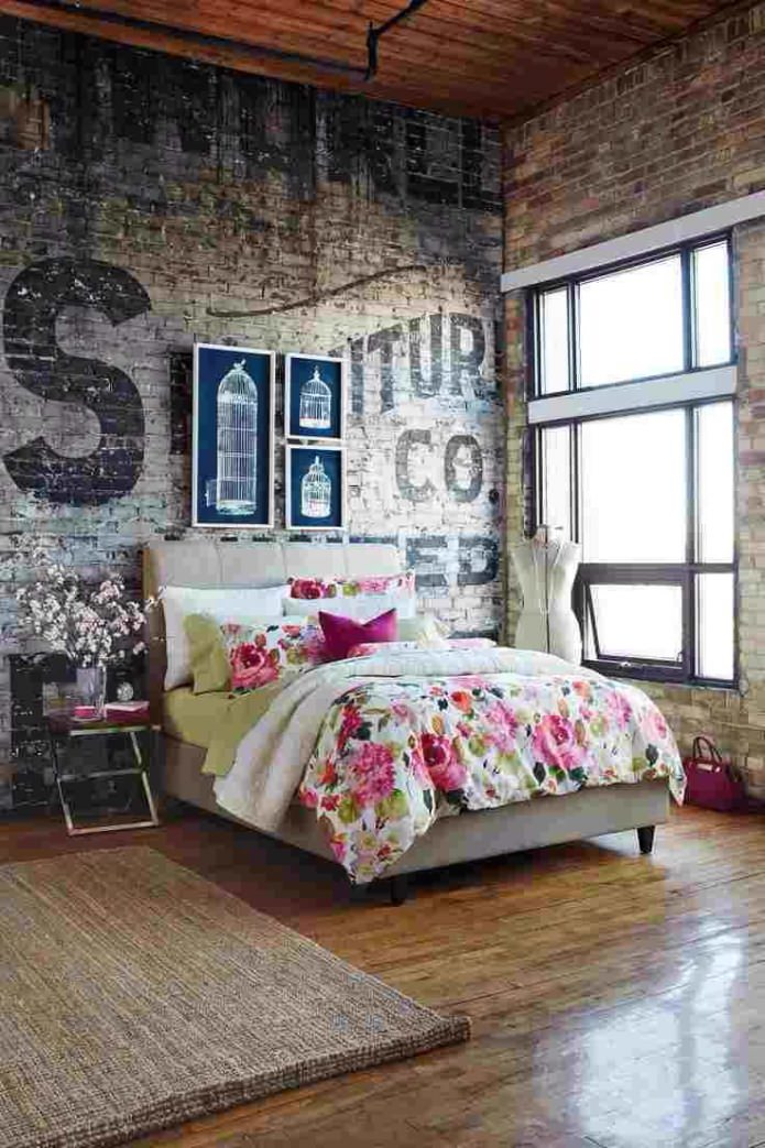 Стиль гранж в интерьере спальни