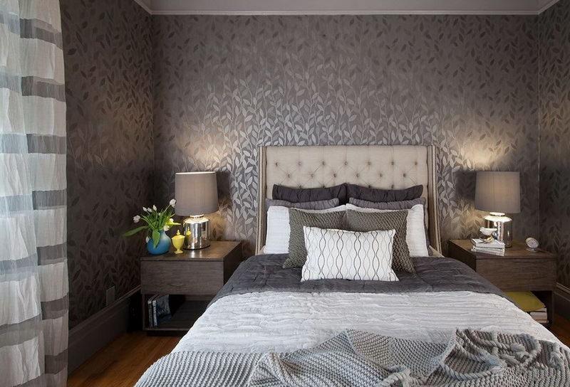 дизайн спальни с серыми обоями