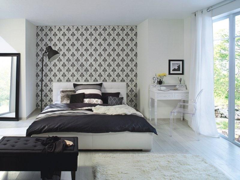 обои для спальни дизайн фото комбинированные