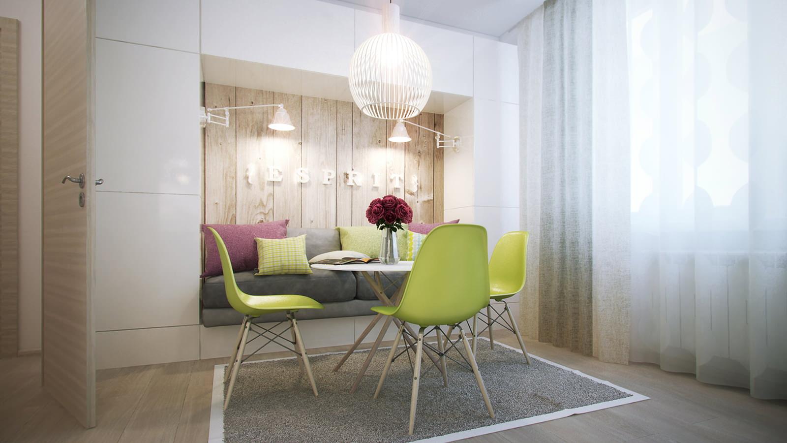 Дизайн 1 комнатной квартиры 35 кв.м с выделенным спальным